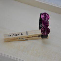Lederarmband mit Aludraht (pink)